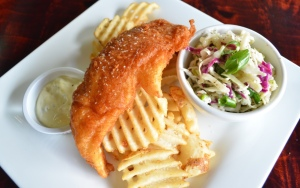 Clancy's Fish and Chips $13 | White Fish, Tartar Sauce, Lemon Bleu Cheese Slaw, Malted Waffle Fries