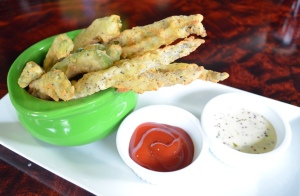 Avocado and Asparagus Fries $9 | Avocado and Asparagus Spears, House Ketchup, Grain Mustard Aioli, Lemon Greens